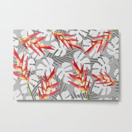 Heliconia Flower with white Monstera Leaves Metal Print