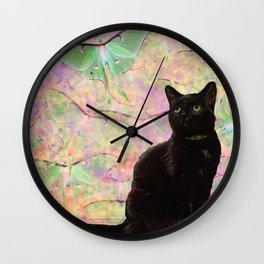 Luna Cat Pink & Green Wall Clock