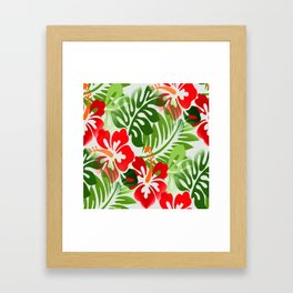 Hawaiian Flowered Shirt Pattern Red Green Framed Art Print