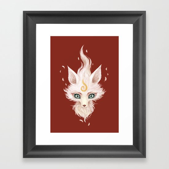 White Fox Framed Art Print