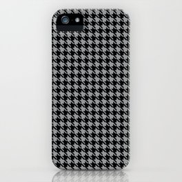PreppyPatterns™ - Cosmopolitan Houndstooth - black and silver gray iPhone Case