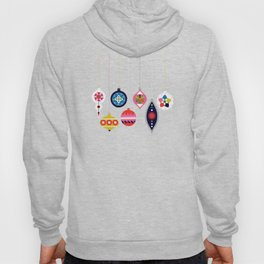 Retro Christmas Baubles on a dark background Hoody