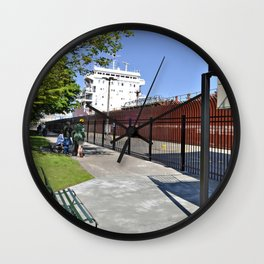 Freighter Locking Down Wall Clock