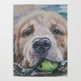 GOLDEN RETRIEVER dog portrait painting by L.A.Shepard fine art Poster