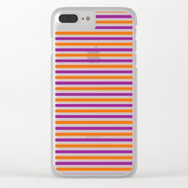 Orange, Purple and White Vintage Thin Stripes Clear iPhone Case