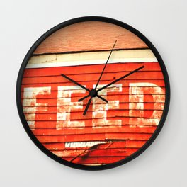 rustic feed sign Wall Clock