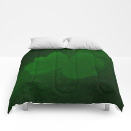 with a small brush shiny green shamrock Comforters