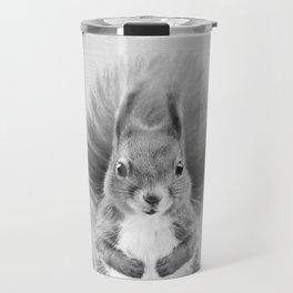 Squirrel 2 - Black & White Travel Mug