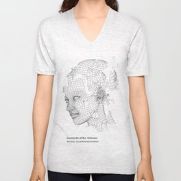 Face Extract -  Geomertic of the Universe  Unisex V-Neck