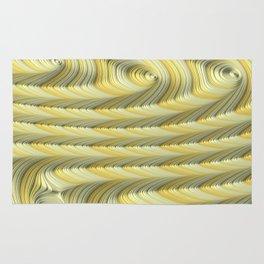 Green Gold Stripes Fractal Art Rug