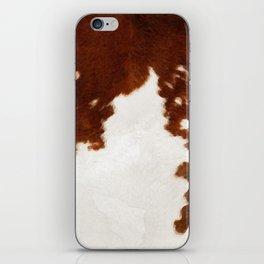brown cowhide watercolor iPhone Skin