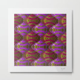 Christmas Ornament Tessellation in Red Metal Print