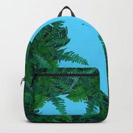GREEN & BABY BLUE  FERN LEAVES ART Backpack