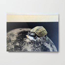 Space Turtle (Eating Fish), an Analog Paper Collage by Cecilia Lee, Whipple Hill Art Collective Metal Print