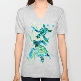 Sea Turtles, Turquoise blue Design Unisex V-Neck