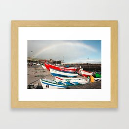 Rainbow at the harbour Framed Art Print