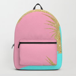 Pink and mint geometric faux gold glitter pineapple Backpack