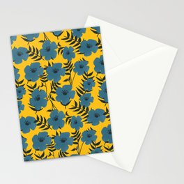 Blue Flowers with Banana Leaves with Yellow Stationery Cards
