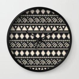 Vintage white black geometrical aztec tribal Wall Clock