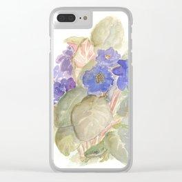 Carolina Anole Lizard in the Violets Clear iPhone Case