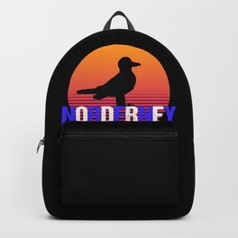 Sunset Sea Gull Norderney Island Northsea Germany Backpack