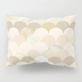 Blush brown ivory faux gold glitter scallop pattern Pillow Sham