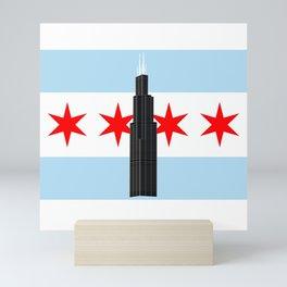 Willis / Sears Tower, Chicago Flag Background Mini Art Print
