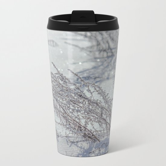 Winter grass Metal Travel Mug