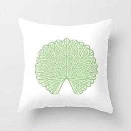 Symmetric Garden Geranium Leaf Illustration Throw Pillow