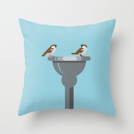 Sparrows catching up vector illustration Throw Pillow