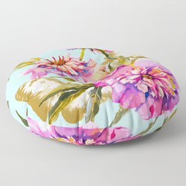 Flowery nature and golden butterfly Floor Pillow