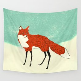 Fox in the snow, Kitsune, Vintage inspired illustration Wall Tapestry
