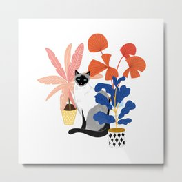 siamese cat and plants Metal Print