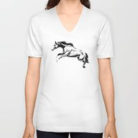 horse V-neck T-shirts featuring Horse by Anna Shell