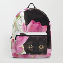 Black Cat Lotos Flower Gras Backpack