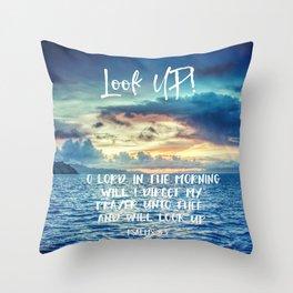 Ocean Sunrise Psalms Prayer Bible Verse Throw Pillow