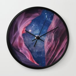 Grand Canyon with Space & Full Moon Collage II Wall Clock