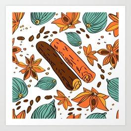 Spices. Pattern. Cinnamon, cardamom, nutmеgб coffee bean. Art Print