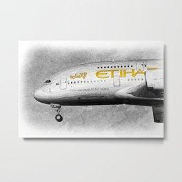 Etihad Airlines Airbus A380 Art Metal Print