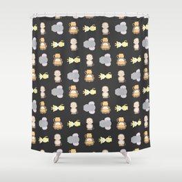 Jungle Animals - Black Shower Curtain