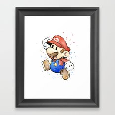 Mario Watercolor Framed Art Print