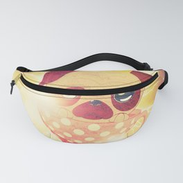 Kawaii pug flying in a cup lightings and starry texture Fanny Pack