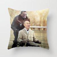 "putin Throw Pillows featuring Putin And Obama in ""Les Intouchables"" by Luigi Tarini"