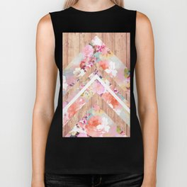 Vintage floral watercolor rustic brown wood geometric triangles Biker Tank