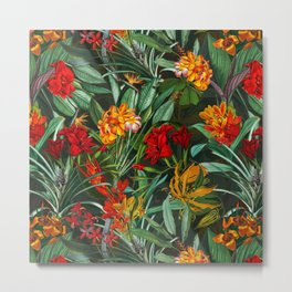 Vintage & Shabby Chic - Colorful Tropical Night Garden Metal Print