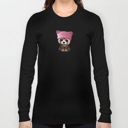Cute Baby Red Panda Wearing Pussy Hat Long Sleeve T-shirt
