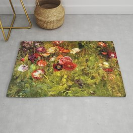 Classical Masterpiece 'A Bed of Poppies' by Maria Oakey Dewing Rug