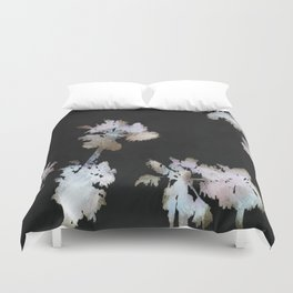 Tropical Palms On Black Background Duvet Cover