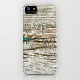 Rustic Wood Ages Gracefully - Beautiful Weathered Wooden Plank - knotty wood weathered turquoise pa iPhone Case