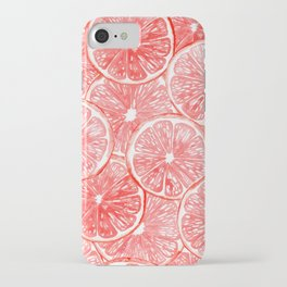 Watercolor grapefruit slices pattern iPhone Case